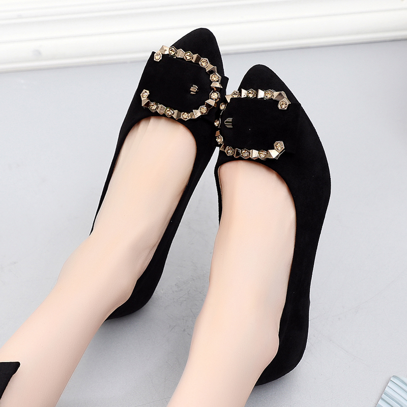 Old Beijing Cloth Shoes Autumn Women's Shoes Fashion Flat-soled Shallow-mouthed Single Shoes Comfortable Leisure Tip Drill Fashion Shoes