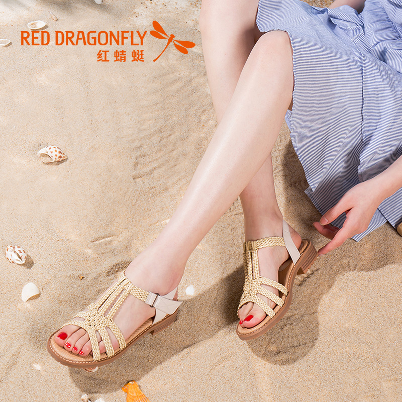 Red Dragonfly Sandals 2009 Summer New Knitted Women's Shoes Fashionable Casual Sandals with Rough heels and Breathable Softsoles