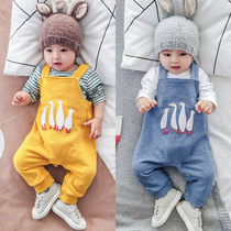 Wakon baby bib 6-12 months male newborn out of trousers Spring year-old baby Siamese pants