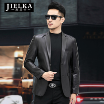 New Haining leather mens fetal leather leather suit business single casual leather suit mens jacket