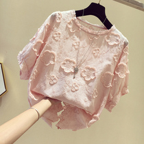 Short-sleeved t-shirt girl 2020 summer new Korean version of the temperament loose-fitting thin very fairy lace chiffon shirt