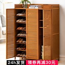 Обувной шкаф для домашнего использования двери чтобы собрать артефакт пыленепроницаемый простой обувной полке многослойной экономичной твердой древесины общежития полки
