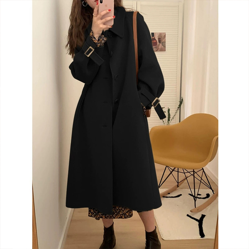 Black hair coat female middle-length version of the 2020 winter new Korean version thicker than knee Hepburn wind childrens coat