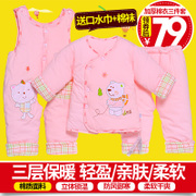 Autumn and winter men and women aged 0-1 baby infant cotton padded clothes in winter suit coat three sets of infants and young children