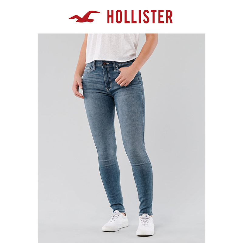 Hollister spring 2020 new soft elastic high waist double skinny jeans for women 304772-1