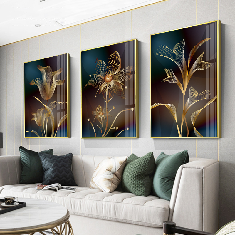 Golden Atmospheric Flower Living Room Decoration Painting Contemporary Sofa Background Wall Lightweight Luxury Fresco Nordic Simple Wall Painting