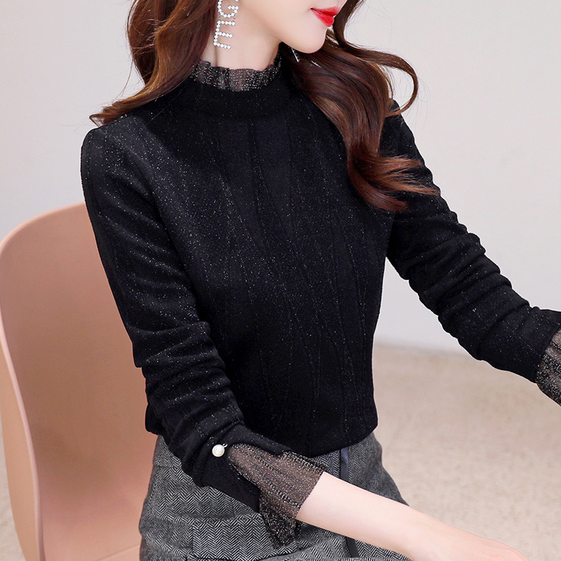 Bottoming women's autumn and winter 2019 foreign style new style with net yarn shiny T-shirt half high collar long sleeve Plush top