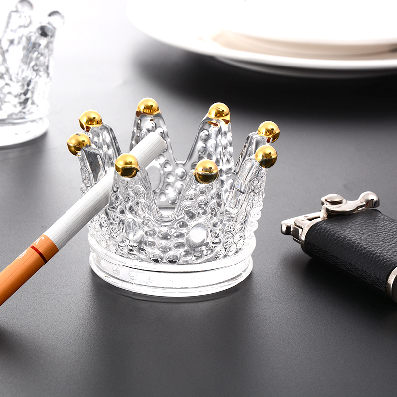 Nordic ins ashtray display creative personality trend cute girl transparent glass trumpet crown ashtray
