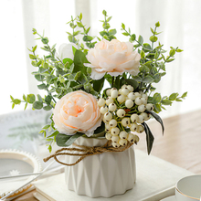 Nordic imitation flower living room furnishing dining table table table decoration plastic flower bouquet decoration potted small ornament artificial flower