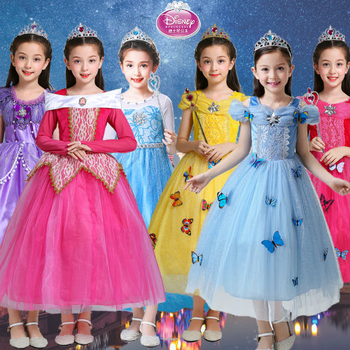 Halloween Children's Clothing Ice and Snow Margin Princess Aisha Skirt Girls Dress Aisha Cinderella Dress Long Sleeves