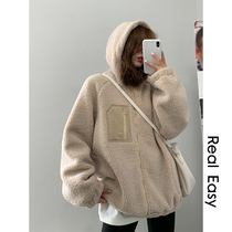 A Silver Fox velvet composite plus cashmere Lamb hair coat womens autumn and winter New long fleece loose thickening
