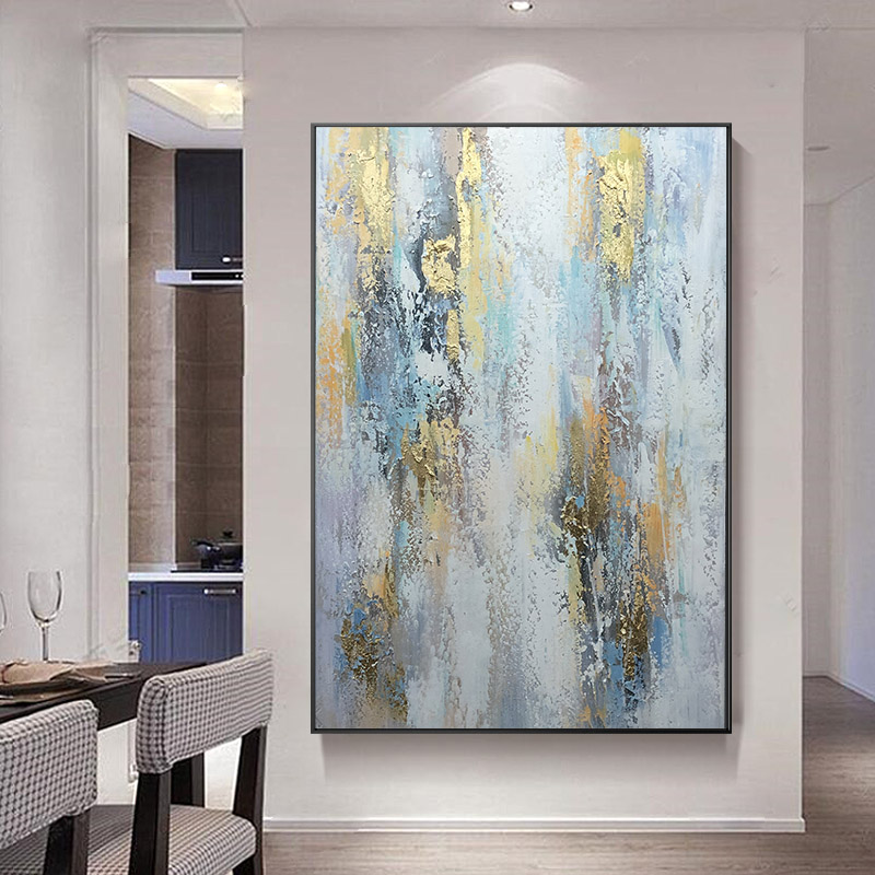 Pure hand-painted oil painting Nordic light luxury gold foil decorative painting post-modern simple large-scale porch vertical plate manual originality