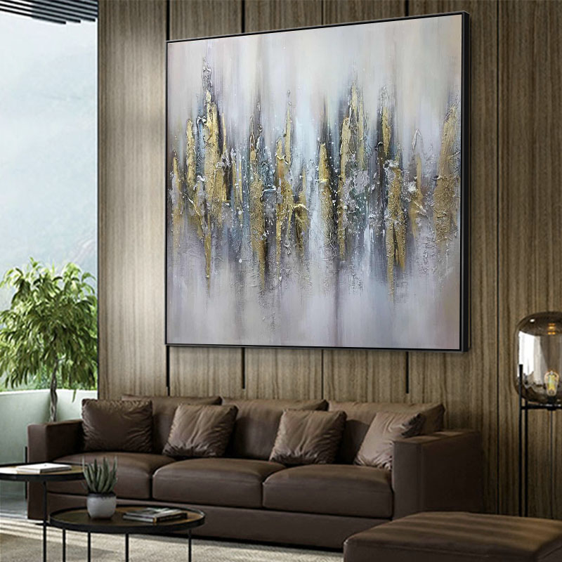 Pure hand-painted oil painting modern light luxury decorative painting Hong Kong-style gold foil abstract painting mysterious canvas large-scale manual customization