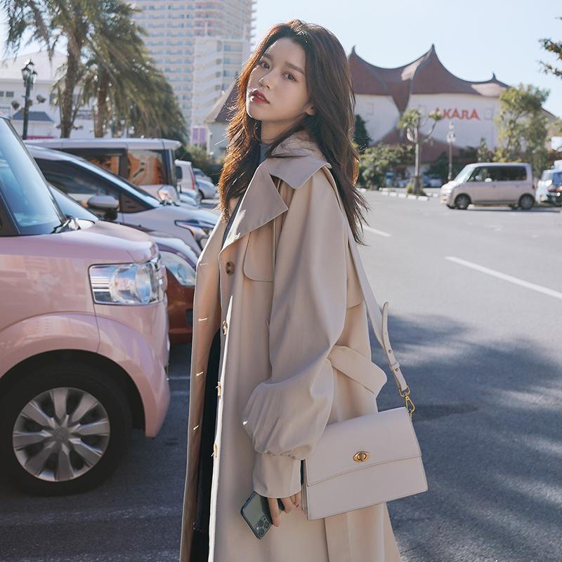 Womens windbreaker 2021 spring new Korean style temperament coat British style casual over-the-knee long fashion coat female