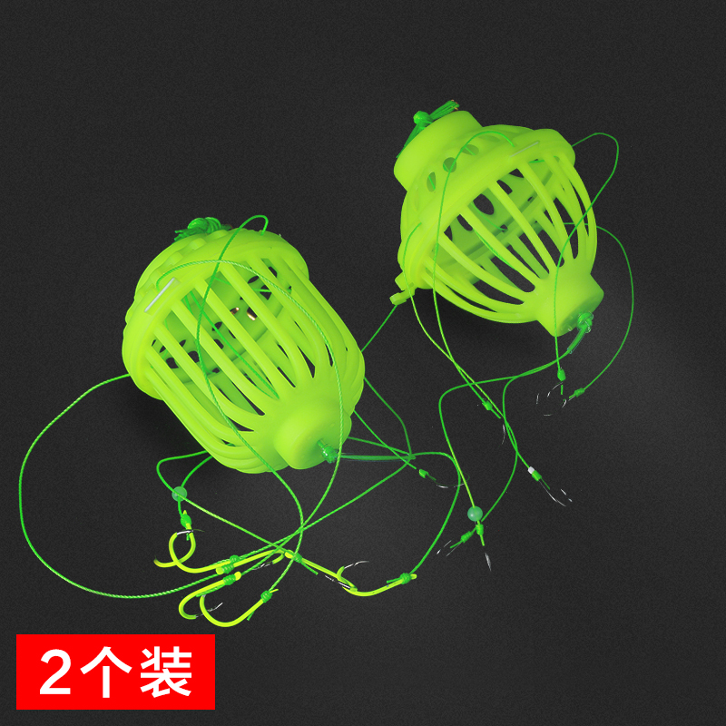 Luminous fish hook explosion hook 鲢鳙 fluorescent explosion hook hook monster water Lei bait cage hook fishing line set fishing supplies