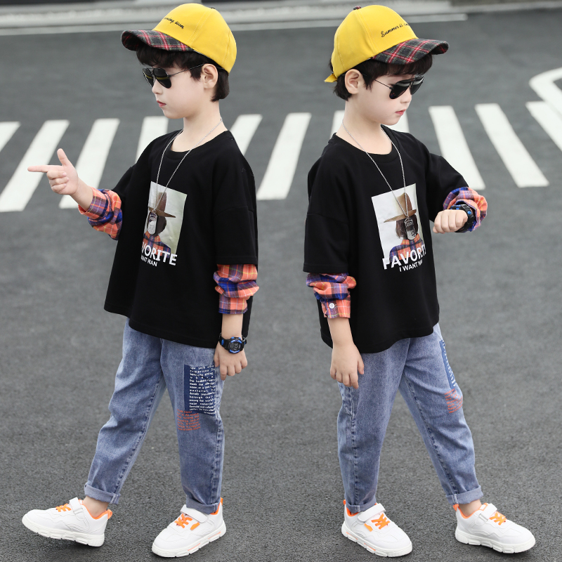 Children's T-shirt for boys 2020 spring new children's sweater spring and autumn fashion Korean long sleeve holiday two piece top trend