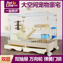 Rabbit cage luxury Dutch pig breeding household large drawer pet cage supplies to clean the anti-jet dragon cat cage