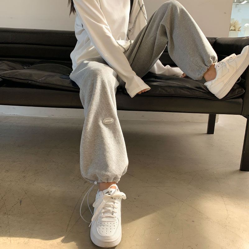 Grey wide-legged pants womens autumn winter 2020 new straight-barrel high-waisted casual leggings plus suede sweatpants