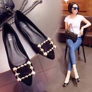 Shoes shoes with flat shoes in the summer and autumn of 2017 the new suede pointed metal buckle all-match are shallow mouth