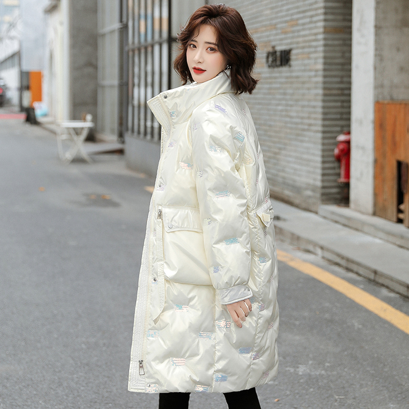 White bright-faced wash-free down jacket 2020 new womens winter medium-length version sequin high-end luxury long version coat tide