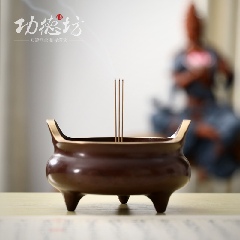 Gongdefang large incense burner pure copper for Buddha incense burner household indoor worship line carnation stick incense antique Xuande furnace