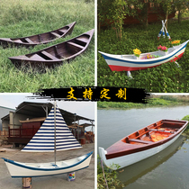 European sailing boat outdoor small wooden boat fishing boat solid wood wedding photography prop boat ornaments landscape decoration wooden boat
