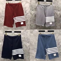 Shopping New thombrowne shorts TB men and women leisure sports pants Beach sweatpants five pants smog blue and red