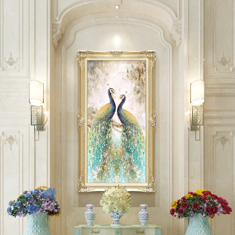 Jane Europa Pass Decorative Paintings Vertical Wall Paintings in the Entrance Passage Corridor Peacock Hanging Paintings Light and Luxurious European-style Oil Paintings