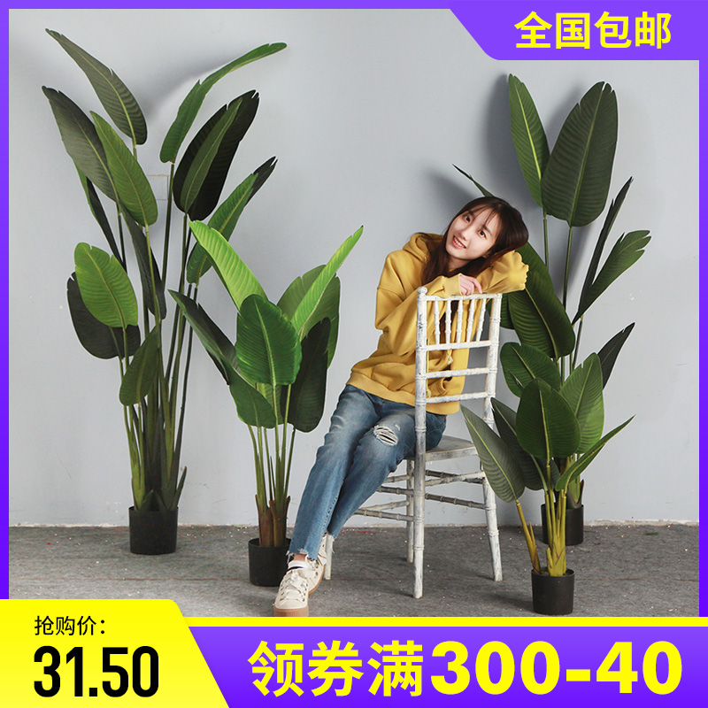 Large Nordic simulation plant landing Paradise Bird bonsai interior decoration false potted green planting decorative traveling banana tree