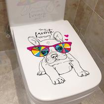 Autocollant de couvercle de toilette étanche toilette dessin animé créatif cool chien personnalité couvercle de toilette réservoir deau auto-adhésif amovible
