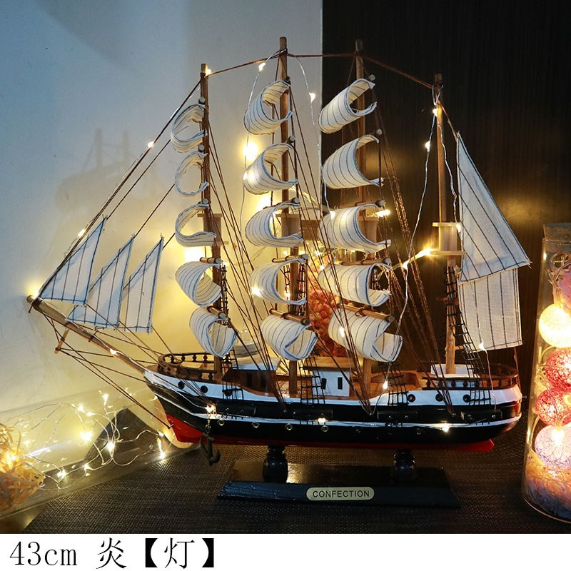 Chinese solid wood handicraft with light sailboat model decoration living room decoration birthday gift