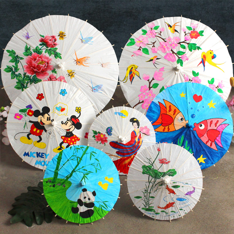 Blank oil-paper umbrella DIY material handmade Chinese wind painting umbrella small hand-painted toys for children in kindergartens