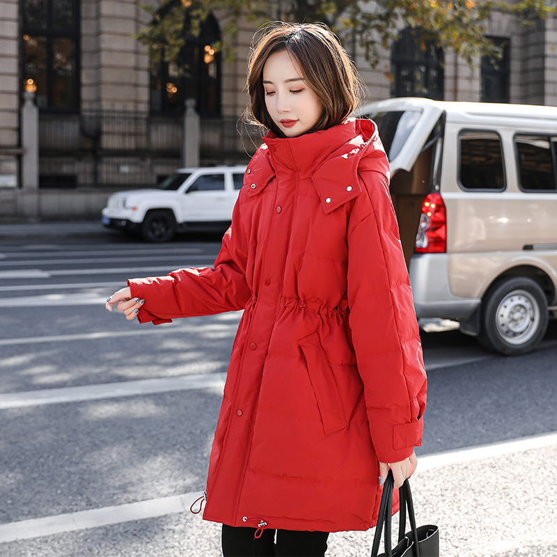 Pregnant women down jacket winter pregnancy later Korean version loose medium and long version of white duck down plus thick warm cotton jacket