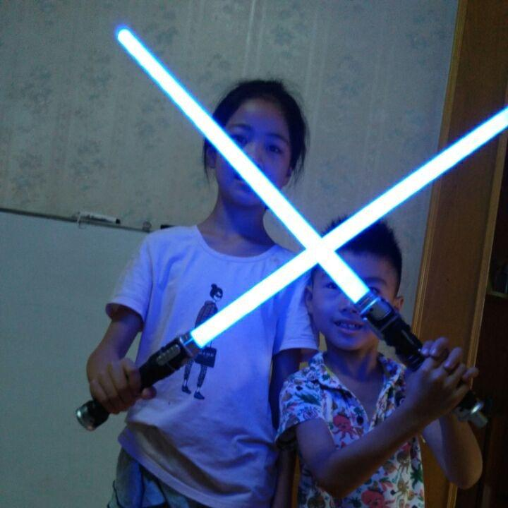Star Wars Lightsaber Laser Sword Cross Telescopic Sword Children Flash Fluorescent Rod Sword Luminous Toy Tremble