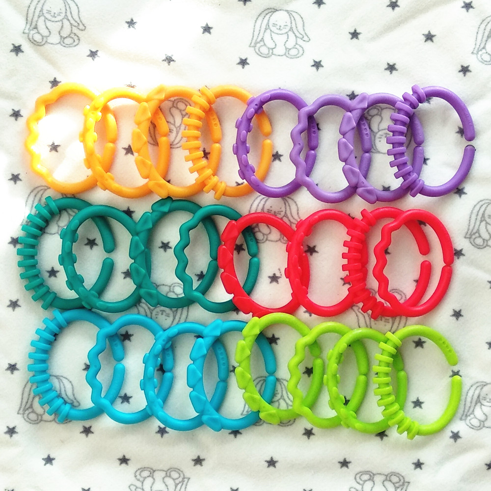 Baby's Hand Grasp Exercise Grasp Touch Connection Ring Lathe Hangers Buckle Ring Puzzle Toy Rainbow Ring