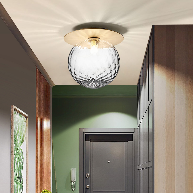 Postmodern Light Luxury Copper Roof Suction Lamp Hallway Point Balcony Cloakroom Nordic Creative Glass Entry Lamp