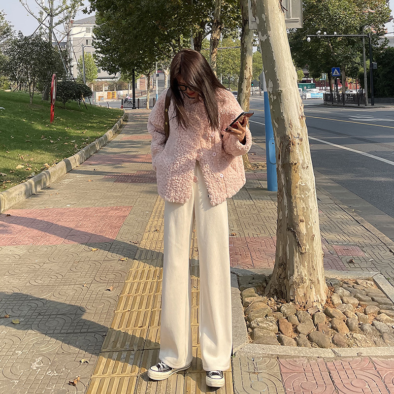 White wide pants women autumn and winter plus thick warm hanging feeling knitted high waist straight straight loose mop pants wick velvet