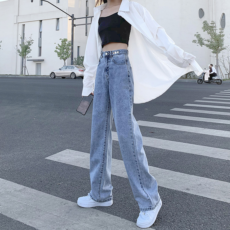 Light-colored high-waisted jeans womens summer straight loose-fitting spring dress 2021 new drag-down wide-leg pants