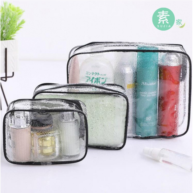 Thickened pvc transparent waterproof portable travel wash bag makeup bag travel towel toothbrush bag