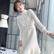 Lace stitching fake two pieces of knitted dress women autumn and winter light luxury 繫 with a coat bottom skirt