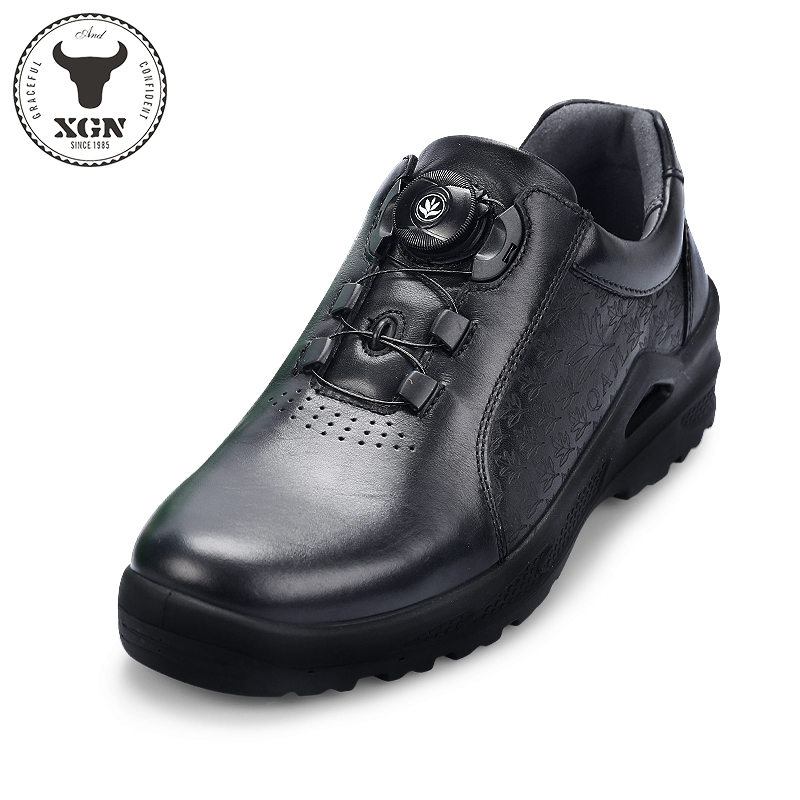 XGN2019 Spring and Autumn new mens and womens leather step shoes wear-resistant breathable couple leisure outdoor sports health shoes