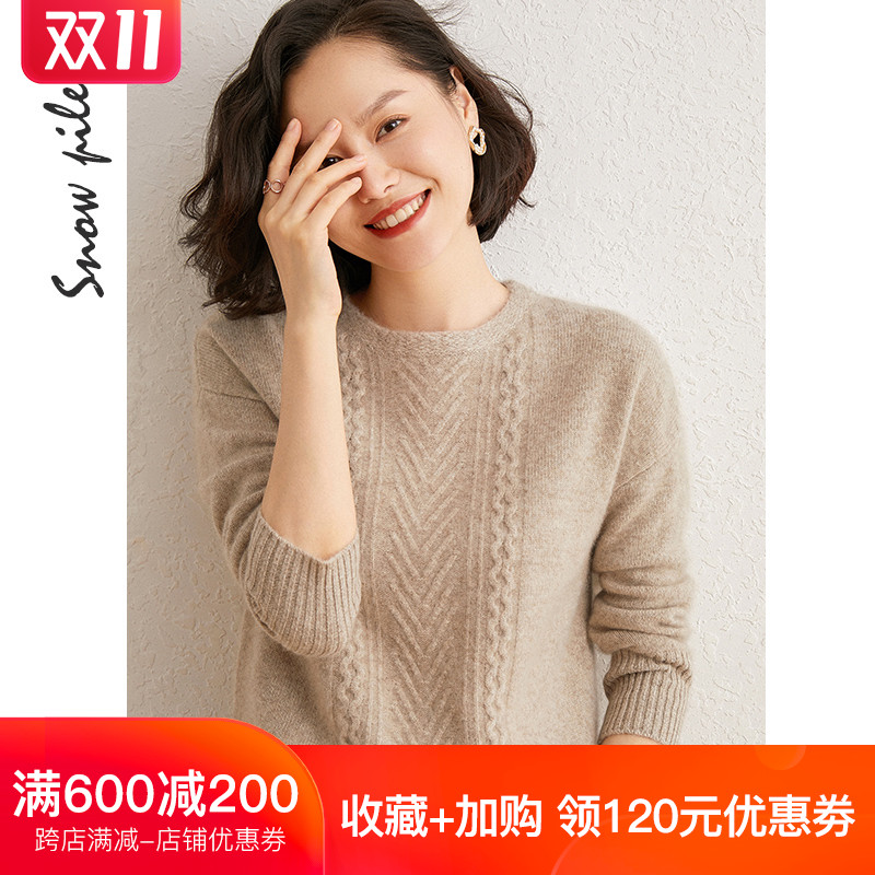 Round-necked cashmere sweater womens autumn winter new set head thick warm loose knitted sweater solid color cashmere sweater girl