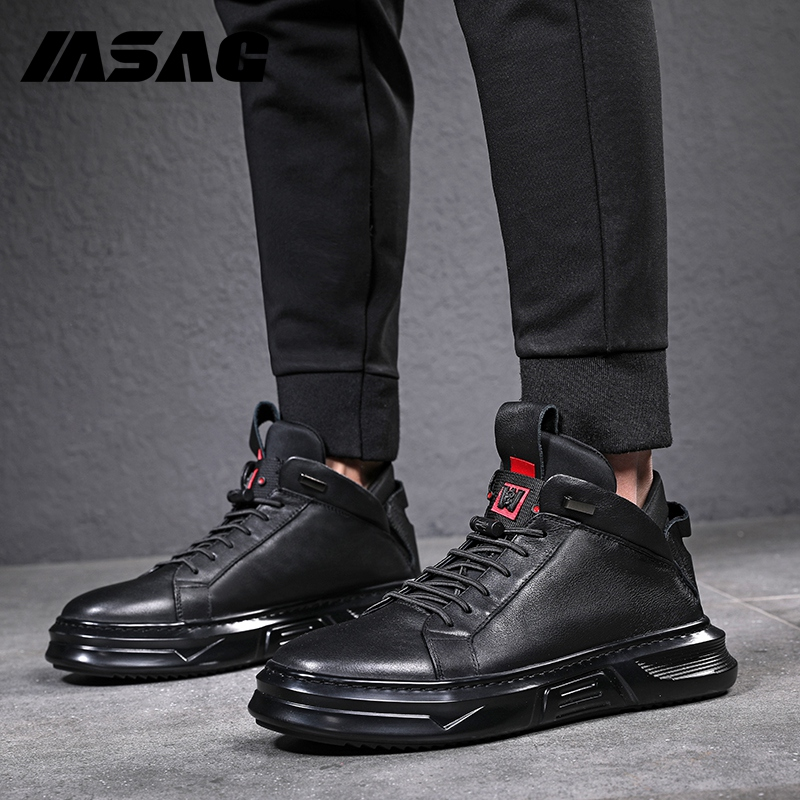 Leather shoes men's high top leather boots Korean Trend board shoes British leisure shoes Martin boots lazy men's shoes