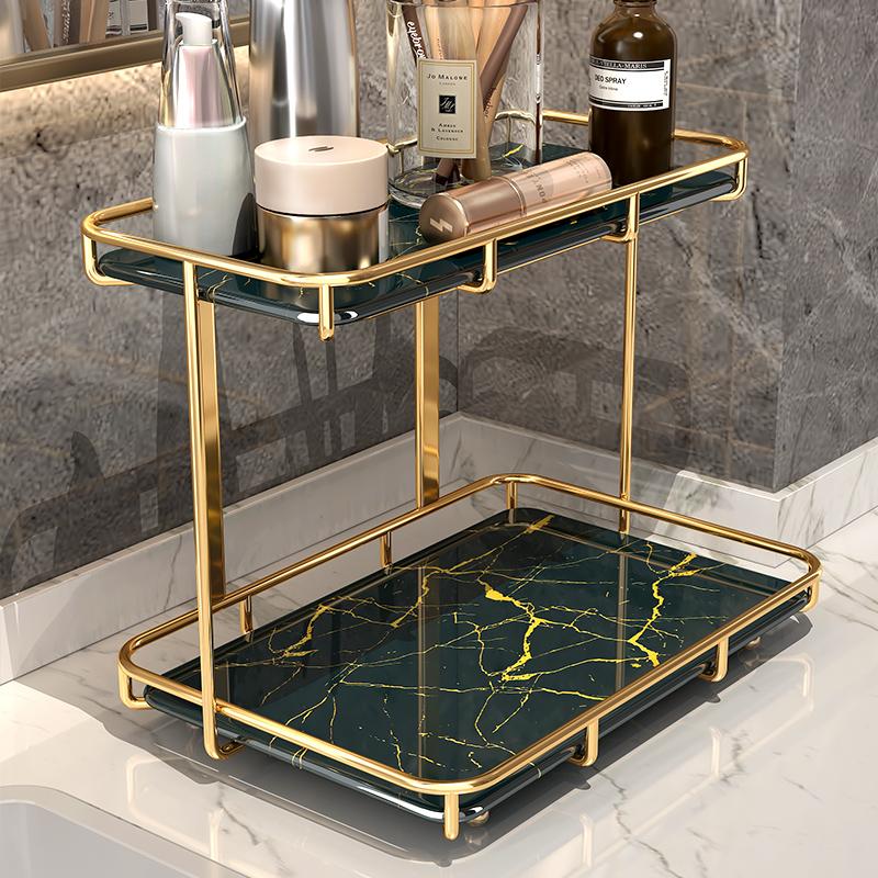 Washing rack dressing room bathroom toilet 檯 double-layer cosmetics light luxury table top storage shelf toilet