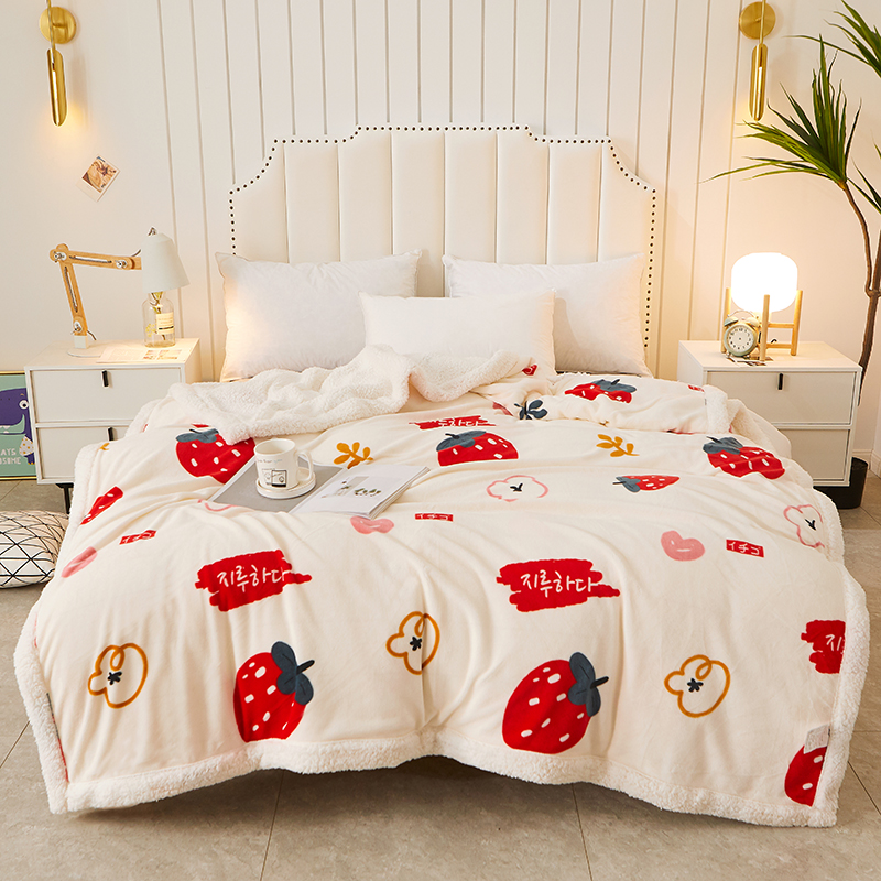 Winter coral fluff blanket thick warm student dormitory single office nap cover blanket frankince duvet double