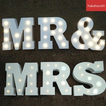 Wooden wedding English letters with LED light ornaments Wooden wedding supplies MR MRS ornaments