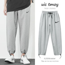 Sweatpants mens autumn winter draw rope tie feet aj casual thick cotton pants autumn loose straight trend hundred basketball long pants