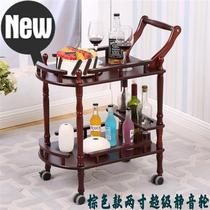3rd floor delivery car American family wine cart hotel r solid wooden dining car mobile trolley with wheel white dining room