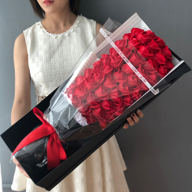 Valentines Day gift to his girlfriends 皁 birthday gift fat 皁 flower-scented flower box simulation fake rose bouquet