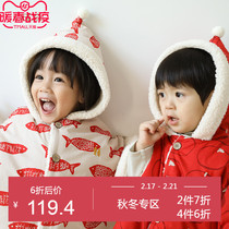 papa autumn and winter boys and girls imitation Lamb cashmere Chinese wind cloak windproof warm baby out thickening shawl